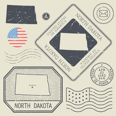 Retro vintage postage stamps set North Dakota, United States