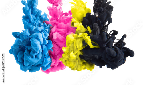 Fototapete color splashes of ink in cyan magenta yellow black as symbol for subtractive CMYK color blending