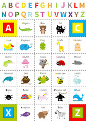 Animal zoo alphabet poster. Letters with eyes. Cute cartoon character set. Isolated. White background Flat design. Baby children education. Alligator bear cat duck elephant frog giraffe hamster iguana