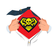 """businessman open his shirt to show """" Dead or dangerous icon"""". in hero style - vector illustration"""
