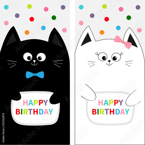 Cat Family Couple With Bow Flyer Poster Set Cute Funny Cartoon Character Happy