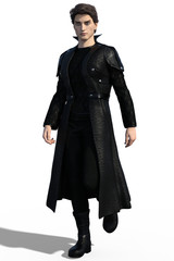 3d illustration of a handsome gothic man wearing leather coat isolated on white