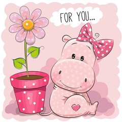Greeting card Hippo girl with flower