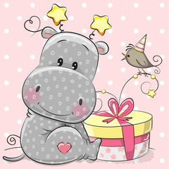 Greeting card cute hippo with gift
