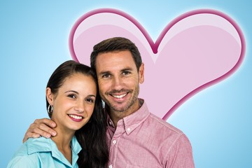 Composite image of smiling couple looking at camera