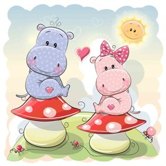 Two Cute Cartoon Hippos