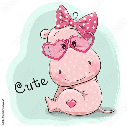 """""""Cute Drawing hippo girl"""" Stock image and royalty-free ..."""