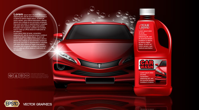 High quality Car wash Product packadge mock up ads. Bottle of carwash soap. 3d Vector realistic vehicle template.