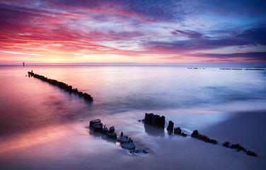 Fototapete - Dramatic sunset over Baltic sea, Poland