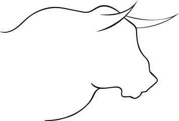 Bull head vector silhouette