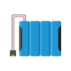 4.8 v battery pack. Blue batteries pack with wires and socket. Vector illustration