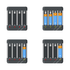 battery charger with AA and AAA batteries. Full and empty battery chargers. Battery chargers set. Vector illustration