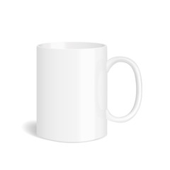 Vector realistic white mug. Isolated cup with shadow on white background.