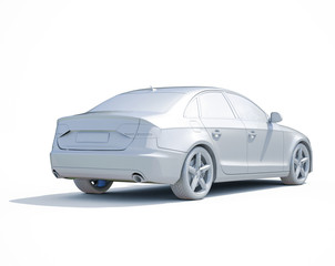 3d Car White Blank Template