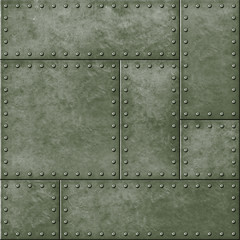 Wall Mural - metal military green seamless background with rivets