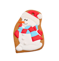 Snowman gingerbread. Isolated.