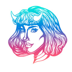 Devil woman head portrait with horns. Vector illustration for t-shirts, posters