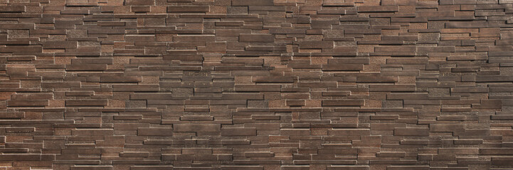 horizontal dark  brown brick wall for pattern and background