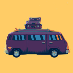 Vector illustration minivan with suitcases on the roof