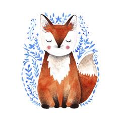 Watercolor fox illustration.