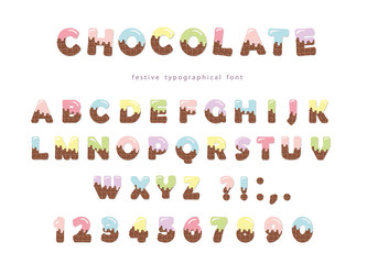Festive chocolate font. Funny letters and numbers can be used for birthday card, Valentines day, baby shower, sweets shop, girls magazine. Isolated.
