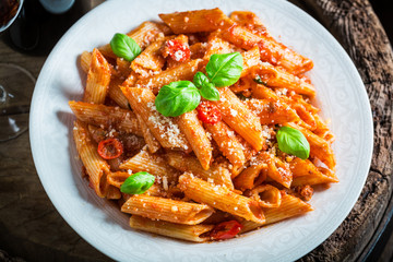 Enjoy your pasta bolognese with parmesan and basil