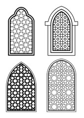 Set of islamic arch, black and white