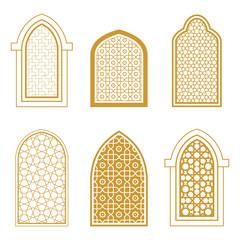 Set of ornamental islamic window