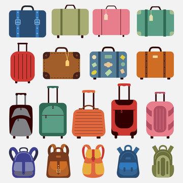 Flat icons luggage.