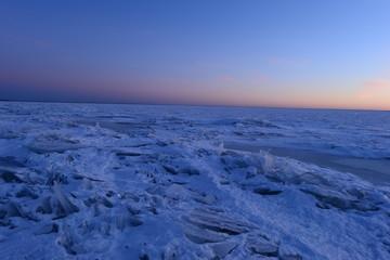 Nature sunset twilight ice desert of broken ice