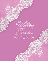 Invitation, greeting or wedding card with white lace on pink background.