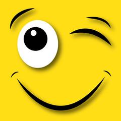 happy face blinking eye