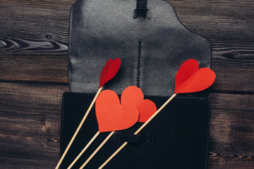 paper hearts and leather case