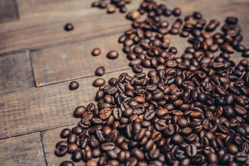 coffee beans, black background,