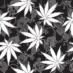 Cannabis or Marijuana seamless pattern.