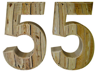Numeral 55, fifty five, isolated on white background, 3d render