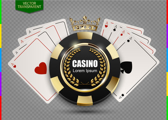 VIP poker luxury black and golden chip in golden crown with ace card vector casino logo concept. Royal poker club emblem with laurel wreath isolated on transparent background