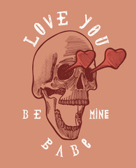 love you babe - skull in love with heart-shaped eyes - grunge card.