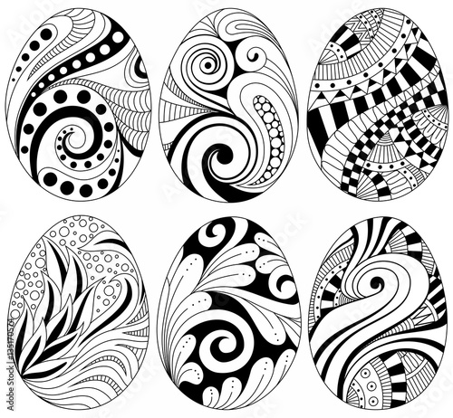 Free Set Of Easter Eggs Isolated On White Handdrawn Patterns Doodle Art With