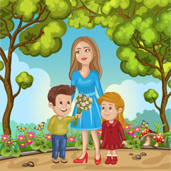 Cute card with mother and children. Mother's day greeting card