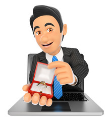 3D Businessman coming out a laptop screen with an engagement rin