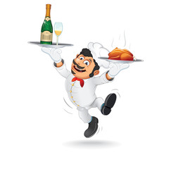 Funny Waiter with Food Tray. Vector