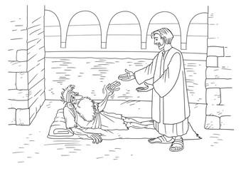 Jesus heals a paralytic at Bethesda