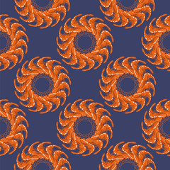 Cooked Red Shrimps Seamless Pattern on Blue Background. Tasty Sea Food.