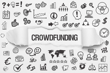 Crowdfunding / weißes Papier mit Symbole