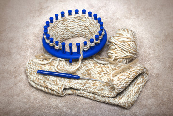 woolen slippers knitted from two yarns on a circular loom, homemade crafts