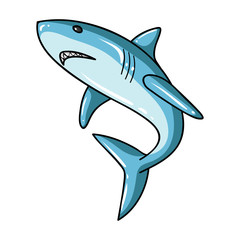 Great white shark icon in cartoon style isolated on white background. Surfing symbol stock vector illustration.