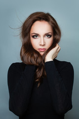 Perfect Woman Fashion Model with Brown Hair
