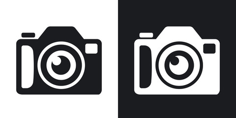 Photo camera icon, stock vector. Two-tone version on black and white background
