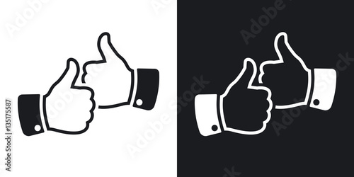 Hands With Thumbs Up Icon Vector Two Tone Version On Black And